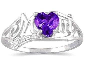 0.50 Ct Amethyst & Diamond Heart MOM Ring .925 Sterling Silver Rhodium Finish