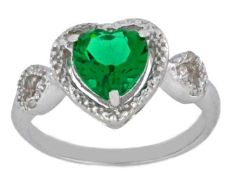 1.5 Ct Emerald & Diamond Heart Ring .925 Sterling Silver Rhodium Finish