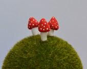 Mini Mushrooms set of Three