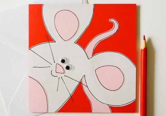Handmade Greeting Card - Mouse Card - Cute Birthday Card - Blank Handmade Greeting Card