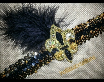 black and gold fleur de lis headband