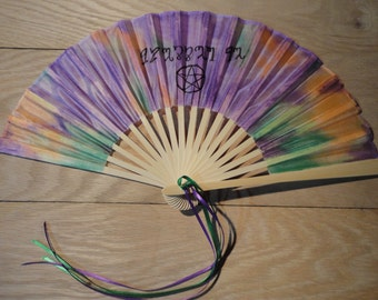 Hand-Dyed Silk Fan with Free Personalization--Abstract Theban Blessed Be