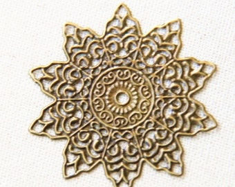 12 pcs of iron filigree 50mm-1613-antique bronze