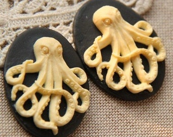 12 pcs of resin octopus cameo 0139- 30x40mm