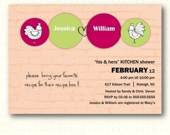 Couples Shower Invitation, wedding, kitchen, jack, jill, bridal, digital, printable, invite  - BW1454