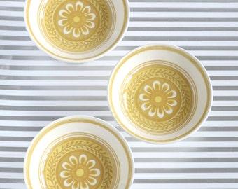 So HAPPY - Vintage Yellow Pedestal Bowls, Retro Home Decor, Serving Dish