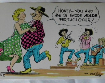 Vintage Bob Petley Laff comic  postcard dancing couple country band unused for my valentine