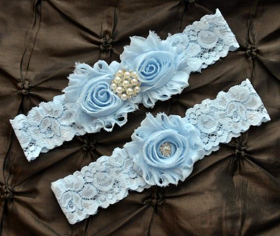 Wedding Garter Belt Bridal Garter Set Blue Lace Garter