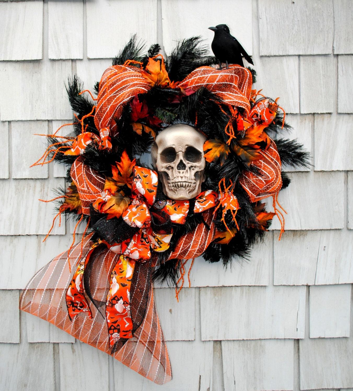 Black Flower And Crow Halloween Wreath: Halloween Wreath Haunted Skeleton Head Spooky Crows Orange