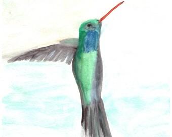 Hummingbird art, ORIGINAL watercolour painting, bird art, tropical bird painting, 7 x 10 inch