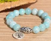 Calming Amazonite  Beaded Bracelet, Tree of Life Charm, Yoga Bracelet, Reiki, Healing Bracelet, Mala