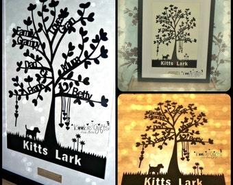Heart drop family tree paper cut framed