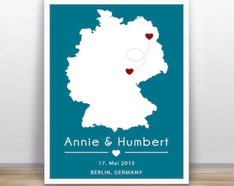 Custom map personalized - Wedding Gift Personalized Anniversary or Wedding Custom - Any State or Country  -