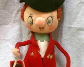 Vintage Mod Noel Japan Felt Christmas Caroler Doll Figure with Winky Lenticular Eyes Kitschy Christmas