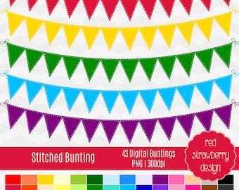 75% OFF Sale - Stitched Bunting -  43 Digital Clip Art - Instant Download - PNG (CA129)
