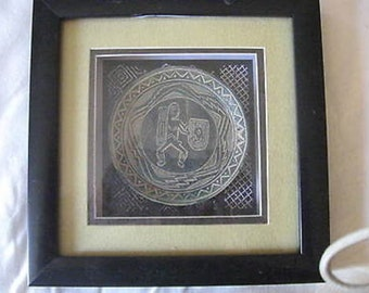 "Native Art in Shadow Box 4"" Dish w Warrior Collectible CL21-13"