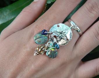 sand dollar  charm ring abalone mermaid  siren pendant in boho gypsy hippie hipster beach resort and fantasy style