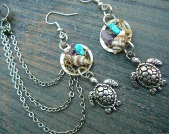 turtle ear cuff  dreamcatcher ear cuff  SET sea turtle seashells cuff in beach mermaid boho gypsy hippie hipster beach and fantasy style