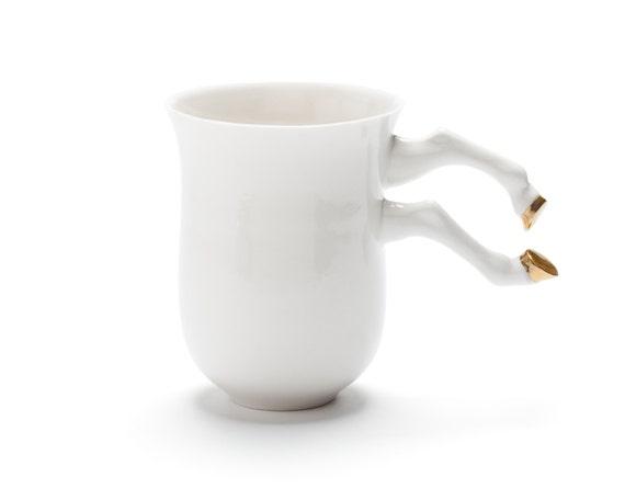 Ceramic coffee mug porcelain white gold unique cup ceramics for Coffee mugs unique design
