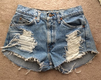 High waisted denim shorts ripped distressed frayed shorts