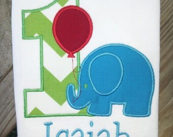 Personalized Elephant Birthday Shirt. 1st Birthday, 2nd Birthday, 3rd Birthday, 4th Birthday, 5th Birthday.