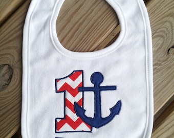 Personalized Nautical, Anchor Birthday Bib, 1st birthday, girl, boy. Nautical, Anchor 1st birthday bib.
