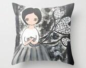 Throw Pillow  Pillow Case Pillow Art pillow Original Surreal Unique Whimsical Girl Black White Grey Forest Woods Zen