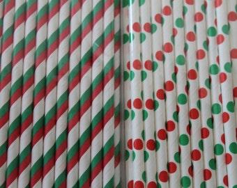 Christmas Straws / Christmas Party Paper Straws / Paper Party Wedding Straws / Birthdays / Shower Decor / Wedding Supplies / Party Supplies