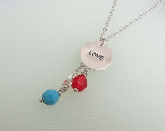 Love Mom Necklace,Family Necklace by Birthstone, Silver necklace, Simple, Everyday jewelry, Birthday gift, Gift for mom