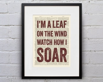 I'm a Leaf On The Wind, Watch How I Soar - Quote Firefly Browncoat Serenity Dictionary Page Book Art Print - DPQU159