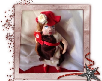 Christmas Granny Mrs Santa Clause Polymer clay ooak original artist sculpt miniature gift collectible made in Galway Ireland