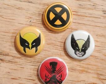 """Wolverine 1"""" Button Set of 4 Marvel Universe X men Logan Weapon X Xforce"""