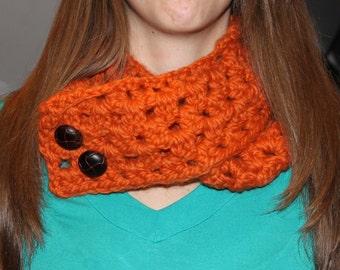 Orange Button Eyelet Infinity Scarf