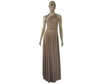 Long Convertible Dress Beige Bridesmaid Tan Maxi Wrap Infinity Dress XS-5XL