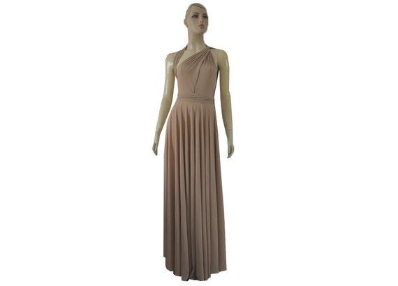 Beige Dress Tan Nude Dress Beige Party Dress Beige Prom Dress: Long Convertible Dress Beige Bridesmaid Tan Maxi Wrap Infinity