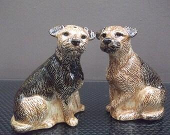 Border Terrier Salt and Pepper Shakers Hand Painted Border Terrier Salt and Pepper Pots