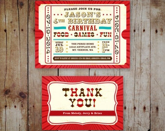 Printable Children's Birthday Party Invitation & Thank You Card - Circus / Carnival Theme - Boy or Girl Ticket Invitation - Gender Neutral