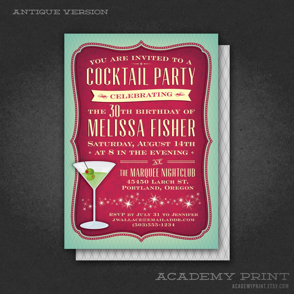 Printable Cocktail Party Birthday Invitation with Martini – Coctail Party Invitation