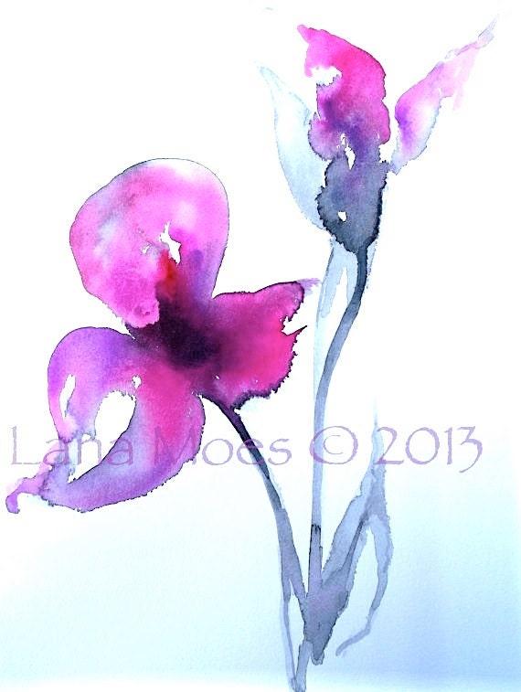 Magenta Floral Original Watercolor Painting - Floral Abstract  - Emotion Pink, Magenta, Gray