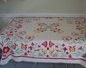 Vintage 1950s 1960s Sintex Tablecloth Cotton Print Red Aqua Yellow Off White  Small 50 x 50 Made in America