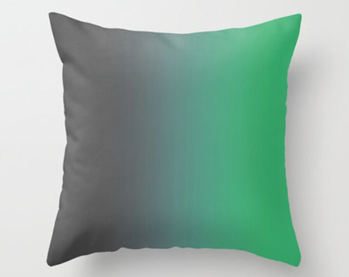 Green Pillow Cover - Ombre Gray to Green Pillow Cover - Throw Pillow Cover - Includes Pillow Insert - Sofa Pillow - Made to Order