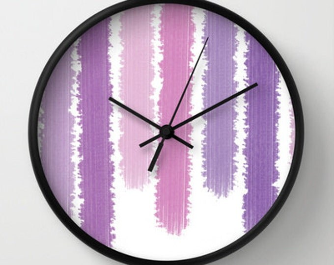 Purple Stripes Wall Clock - Purple Clock - Choice of Frame - Shades of Purple Stripes - Made to Order