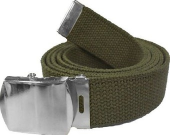 "Olive Drab Belt & Chrome Buckle 100% Cotton Military 54"" Long Web Belt"