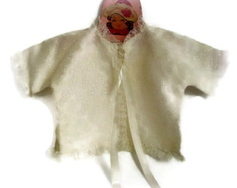 Vintage Baby White Christening Baptism Jacket 0-6 Months 1950's