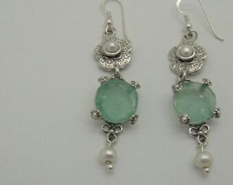 Delicate Dangle Earrings, 925 Sterling Silver Earrings, Ancient Roman Glass Earrings, Pearl Earrings, Unique Jewelry