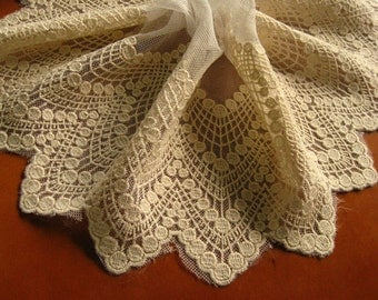 cream Embroidered Lace Trim, cotton embroidered lace, embroidered tulle lace trim, cotton mesh lace