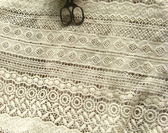 ivory cotton Lace Fabric, ivory lace fabric, crocheted lace fabric, antique lace fabric, by the yard