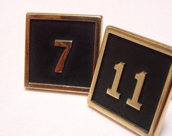 Swank Numbers 7 11 Black Enamel Square Cuff Links (vintage retro 50s 60s 7-11 seven eleven groom mad men signed father lucky gambling luck)