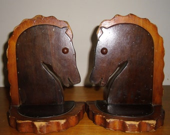 Vintage Wood Carved Leather Covered Horse Bookends, Vintage Rinaldo Horse Bookends, Vintage Wood Carved Horse Bookends