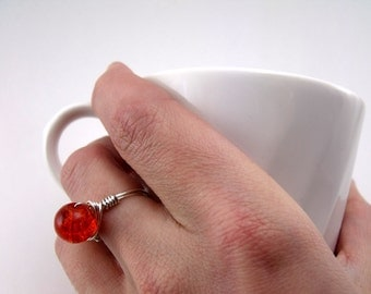 Bead and Wire Ring - Orange Bead & Silver Plated Wire